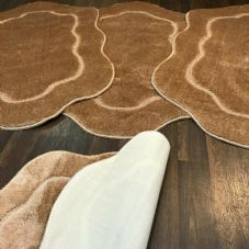ROMANY GYPSY WASHABLES  SETS OF TOURER SIZE 67X110CM MATS/RUGS LIGHT BROWN